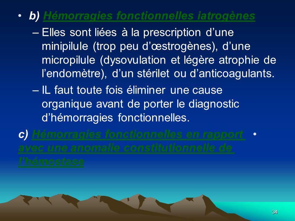 b) Hémorragies fonctionnelles iatrogènes –Elles sont liées à la prescription dune minipilule (trop peu dœstrogènes), dune micropilule (dysovulation et
