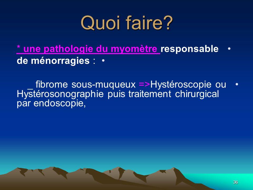 Quoi faire? * une pathologie du myomètre responsable de ménorragies : _ fibrome sous-muqueux =>Hystéroscopie ou Hystérosonographie puis traitement chi