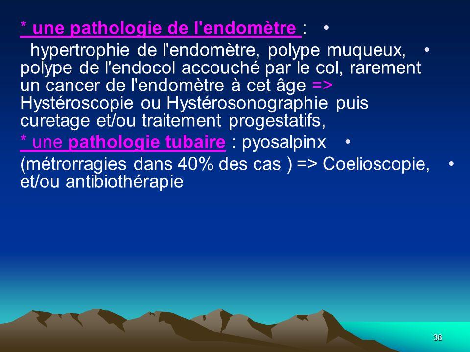 * une pathologie de l'endomètre : hypertrophie de l'endomètre, polype muqueux, polype de l'endocol accouché par le col, rarement un cancer de l'endomè