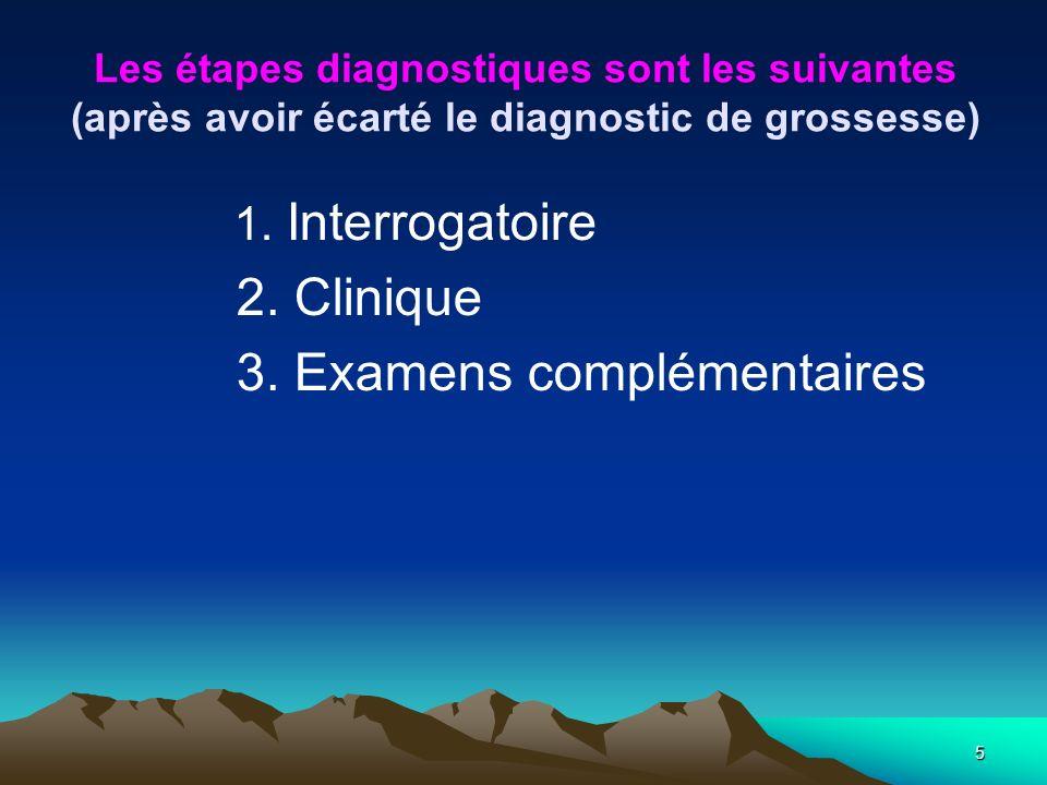 5 Les étapes diagnostiques sont les suivantes (après avoir écarté le diagnostic de grossesse) 1. Interrogatoire 2. Clinique 3. Examens complémentaires
