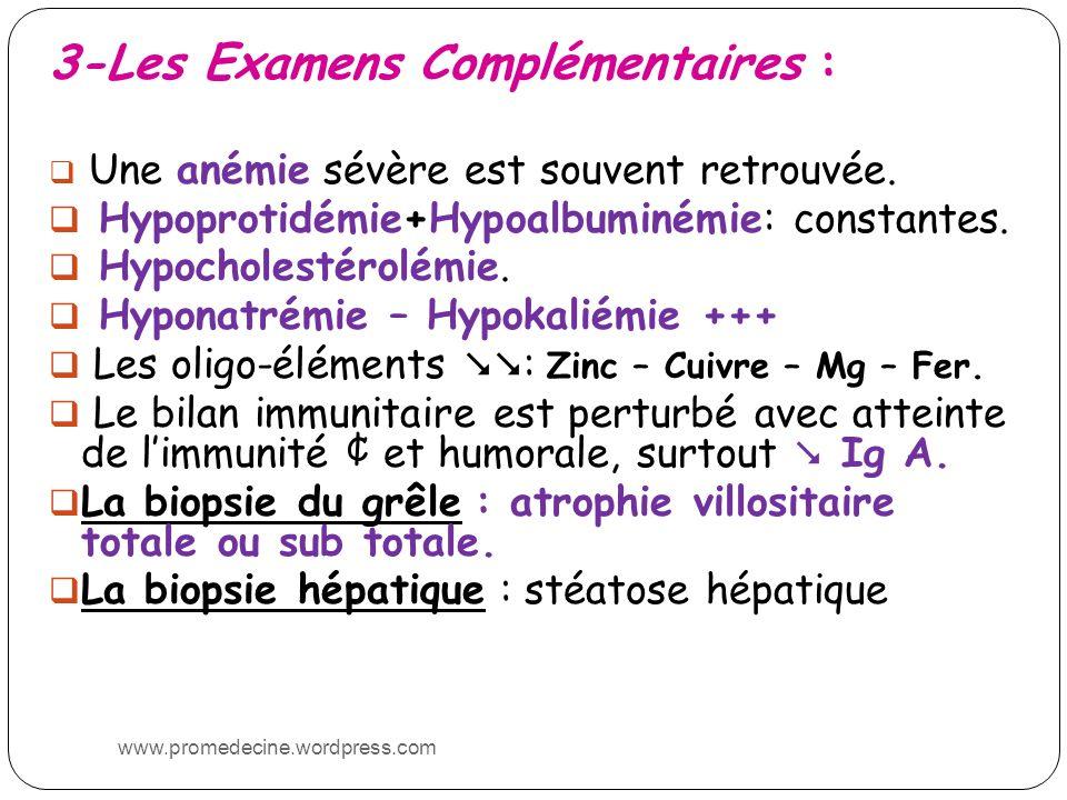 3-Les Examens Complémentaires : Une anémie sévère est souvent retrouvée. Hypoprotidémie+Hypoalbuminémie: constantes. Hypocholestérolémie. Hyponatrémie