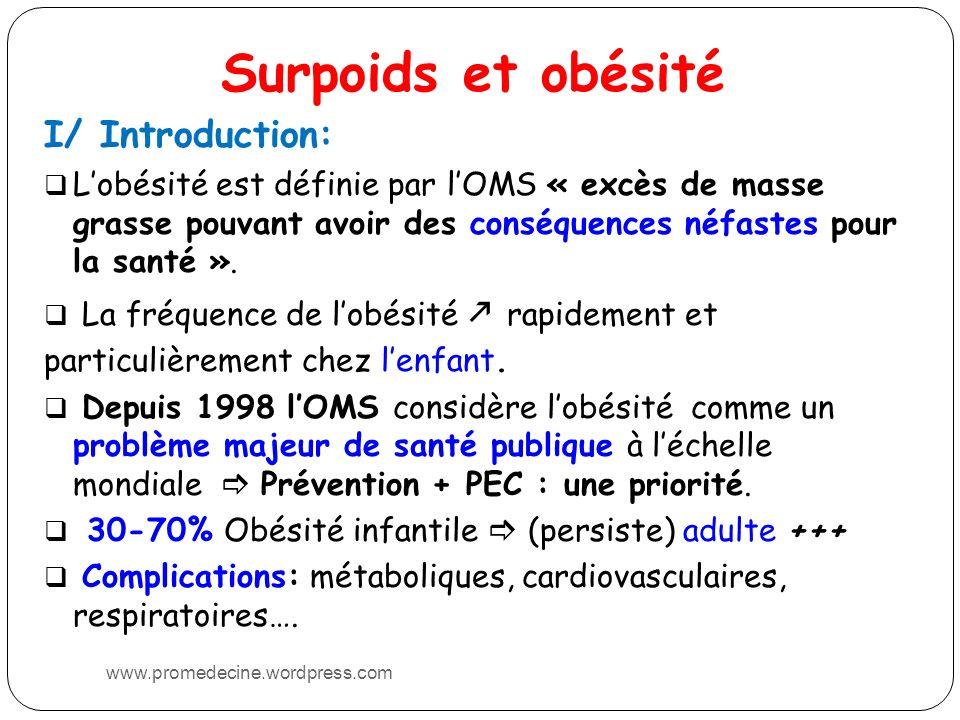 Surpoids et obésité I/ Introduction: Lobésité est définie par lOMS « excès de masse grasse pouvant avoir des conséquences néfastes pour la santé ». La