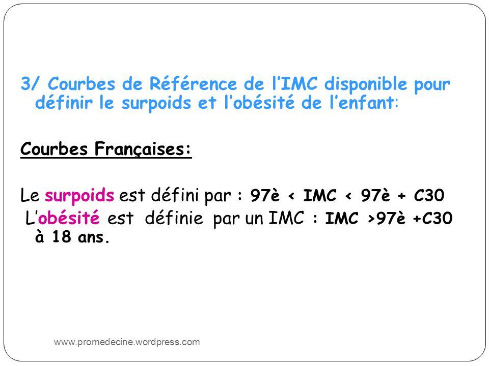 3/ Courbes de Référence de lIMC disponible pour définir le surpoids et lobésité de lenfant: Courbes Françaises: Le surpoids est défini par : 97è < IMC < 97è + C30 Lobésité est définie par un IMC : IMC >97è +C30 à 18 ans.