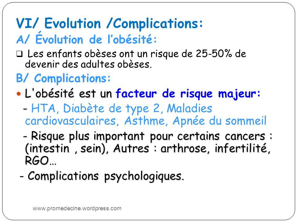 VI/ Evolution /Complications: A/ Évolution de lobésité: Les enfants obèses ont un risque de 25-50% de devenir des adultes obèses.