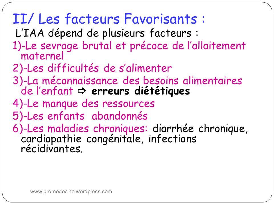 II/ Les facteurs Favorisants : LIAA dépend de plusieurs facteurs : 1)-Le sevrage brutal et précoce de lallaitement maternel 2)-Les difficultés de sali
