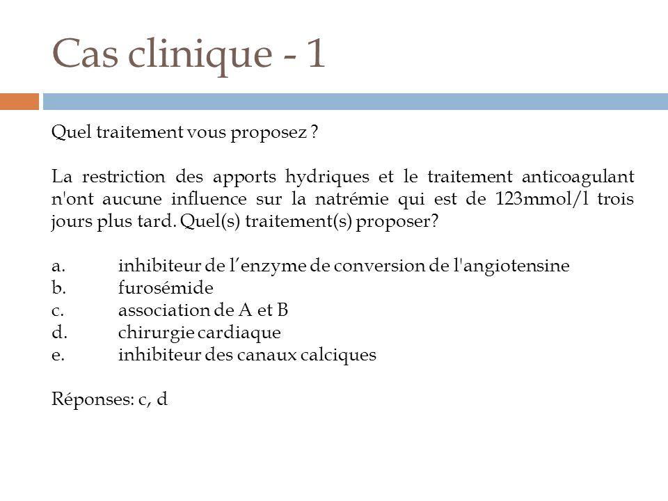 Cas clinique - 1 Quel traitement vous proposez ? La restriction des apports hydriques et le traitement anticoagulant n'ont aucune influence sur la nat