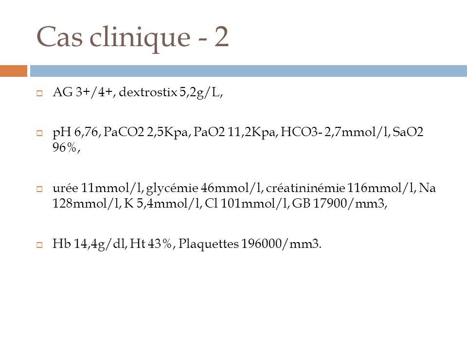 Cas clinique - 2 AG 3+/4+, dextrostix 5,2g/L, pH 6,76, PaCO2 2,5Kpa, PaO2 11,2Kpa, HCO3- 2,7mmol/l, SaO2 96%, urée 11mmol/l, glycémie 46mmol/l, créati