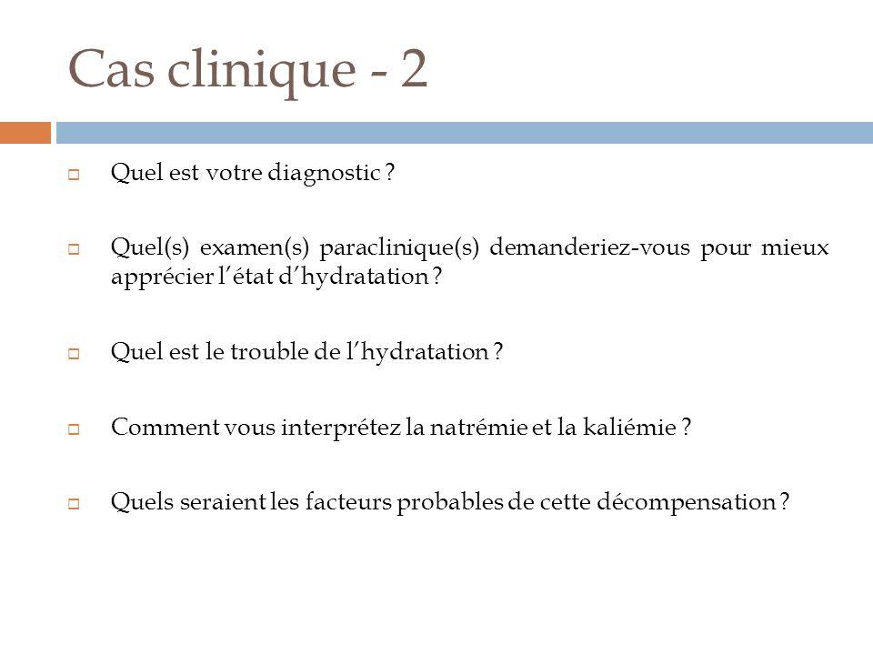 Cas clinique - 2 Quel est votre diagnostic ? Quel(s) examen(s) paraclinique(s) demanderiez-vous pour mieux apprécier létat dhydratation ? Quel est le