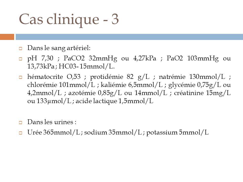 Cas clinique - 3 Dans le sang artériel: pH 7,30 ; PaCO2 32mmHg ou 4,27kPa ; PaO2 103mmHg ou 13,73kPa ; HC03- 15mmol/L. hématocrite O,53 ; protidémie 8