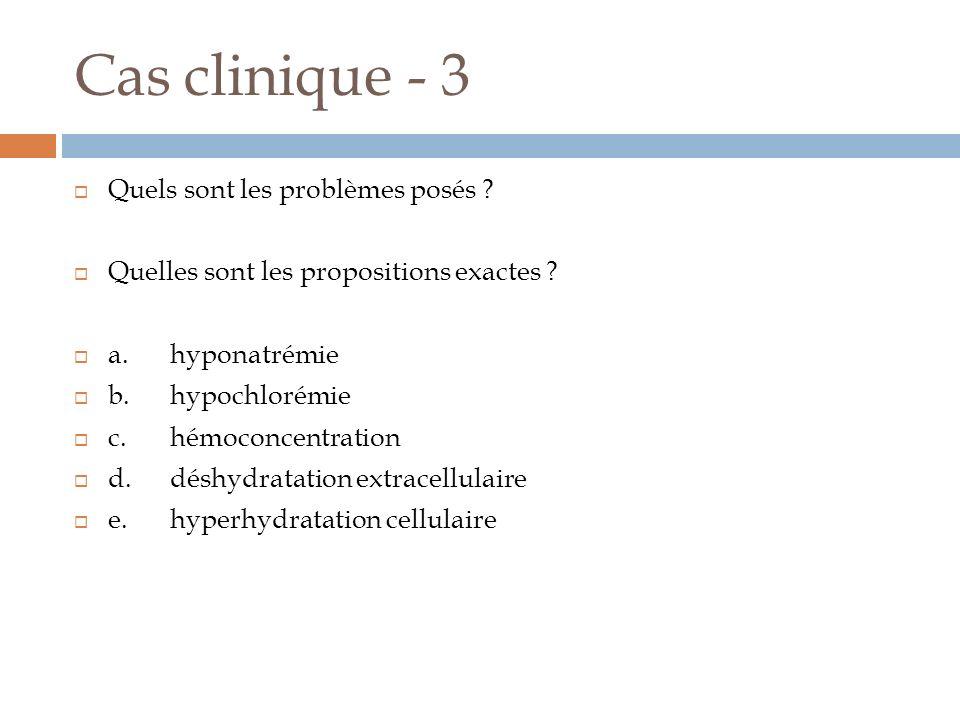 Cas clinique - 3 Quels sont les problèmes posés ? Quelles sont les propositions exactes ? a.hyponatrémie b.hypochlorémie c.hémoconcentration d.déshydr