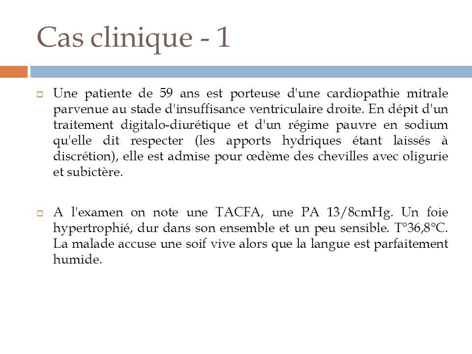 Cas clinique - 1 Dans le sang artériel: pH 7,45 ; PaC02 37 mmHg ou 4,93 KPa ; HC03- 25 mmol/L; PaO2 82 mmHg ou 10,93 Kpa ; Hématocrite 0,42 ; protidémie 65g/L ; sodium 125 mmol/L ; Chlore 88 mmol/L ; potassium 5,5 mmol/L ; glycémie 1,15 g/L ou 6,4 mmol/L ; urée 1,95 g/L ou 32,4 mmol/L ; créatinine 25 mg/L ou 222 µmol/L ; P osmotique 288 mOsmkgH20 Dans les urines (600m/24h) : Sodium 5 mmol/L ; potassium 40 mmol/L ; urée 18 g/L ou 299 mmol/L.