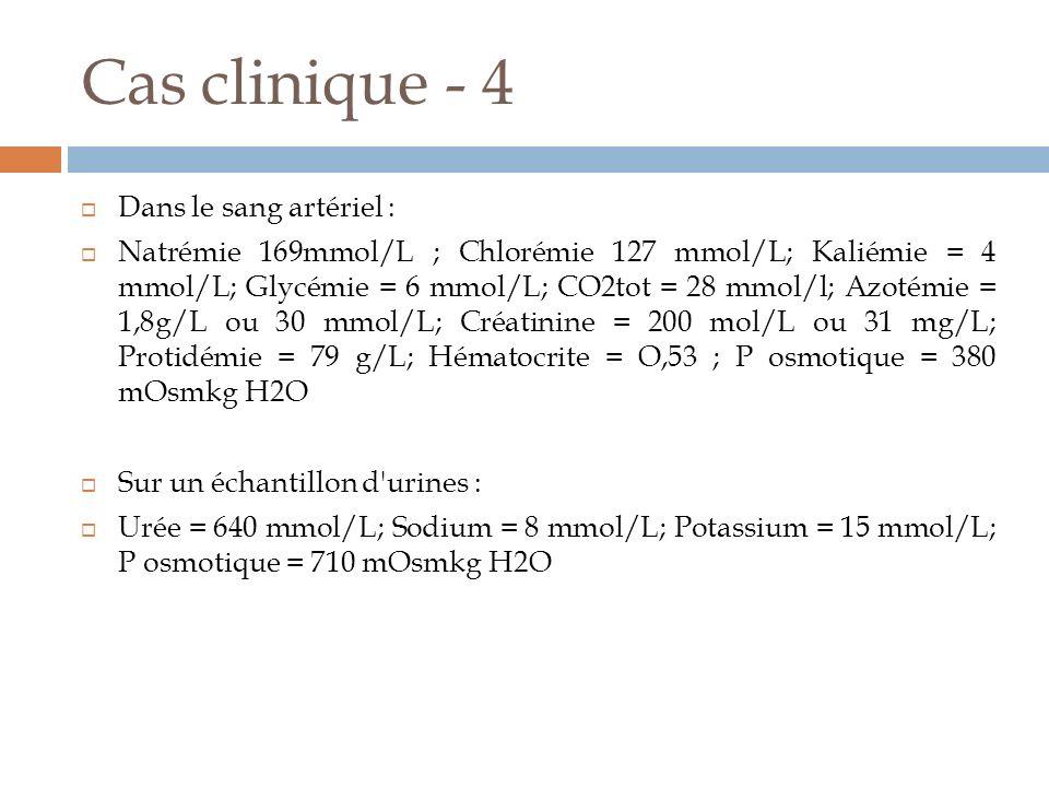 Cas clinique - 4 Dans le sang artériel : Natrémie 169mmol/L ; Chlorémie 127 mmol/L; Kaliémie = 4 mmol/L; Glycémie = 6 mmol/L; CO2tot = 28 mmol/l; Azot