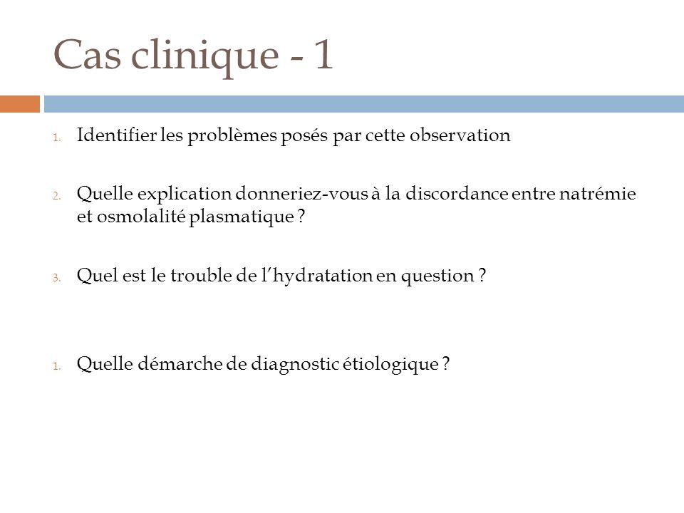 Cas clinique - 1 1.Identifier les problèmes posés par cette observation 2.