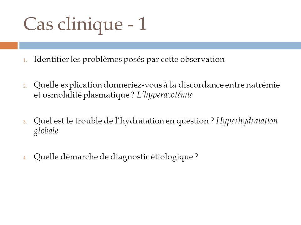 Cas clinique - 4 A léquilibre : 140 * 0.6 * 60 = 5040 mmol Eau totale équilibre = 36 l Déshydraté : 5040 = 169 * Eau totale actuelle Soit eau totale actuelle = 29,8 l Déficit hydrique = 6,2 l Réponse: d