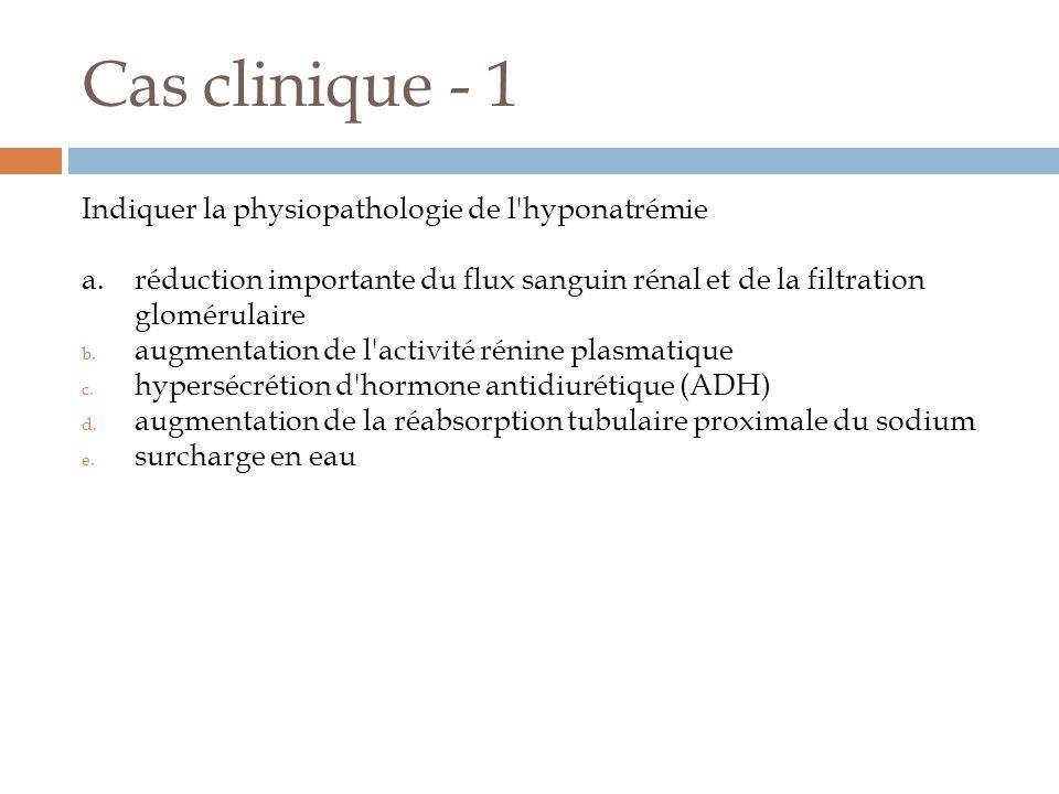 Cas clinique - 1 Indiquer la physiopathologie de l'hyponatrémie a.réduction importante du flux sanguin rénal et de la filtration glomérulaire b. augme