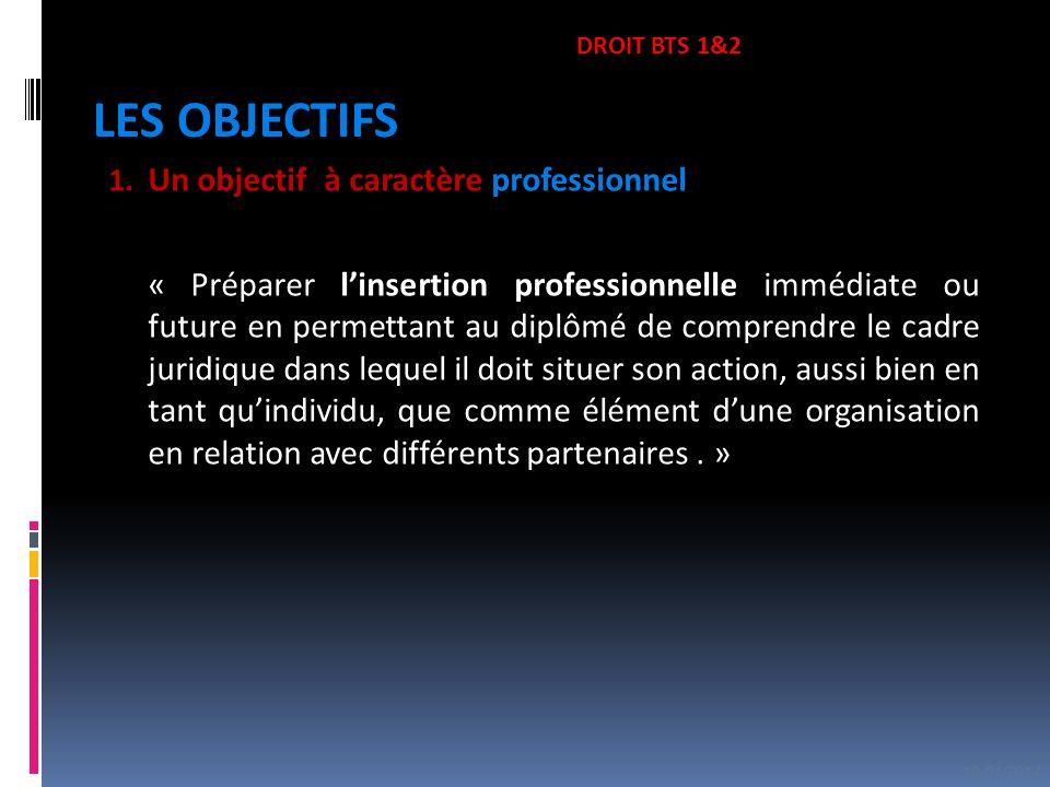1. Un objectif à caractère professionnel « Préparer linsertion professionnelle immédiate ou future en permettant au diplômé de comprendre le cadre jur