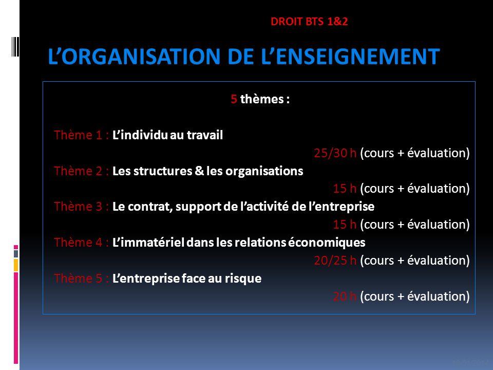 5 thèmes : Thème 1 : Lindividu au travail 25/30 h (cours + évaluation) Thème 2 : Les structures & les organisations 15 h (cours + évaluation) Thème 3
