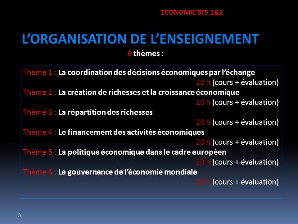 3 6 thèmes : Thème 1 : La coordination des décisions économiques par léchange 20 h (cours + évaluation) Thème 2 : La création de richesses et la crois