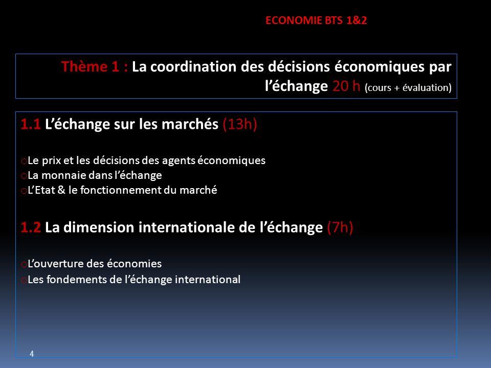 4 1.1 Léchange sur les marchés (13h) o Le prix et les décisions des agents économiques o La monnaie dans léchange o LEtat & le fonctionnement du march