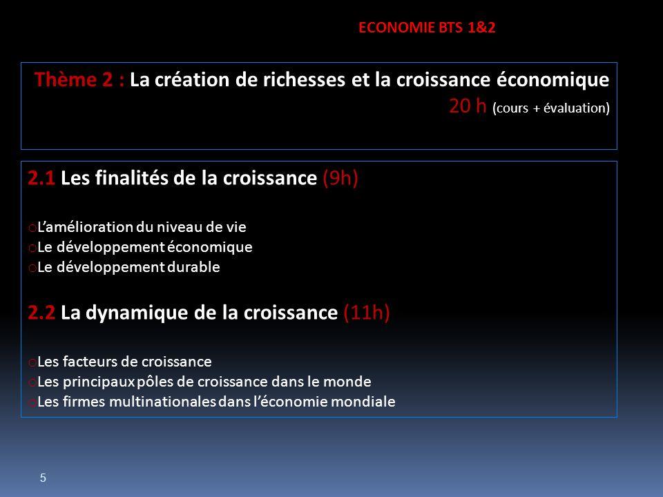 5 2.1 Les finalités de la croissance (9h) o Lamélioration du niveau de vie o Le développement économique o Le développement durable 2.2 La dynamique d