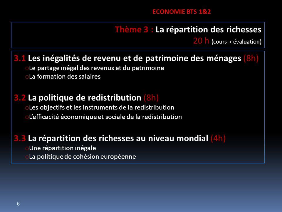 6 3.1 Les inégalités de revenu et de patrimoine des ménages (8h) o Le partage inégal des revenus et du patrimoine o La formation des salaires 3.2 La p