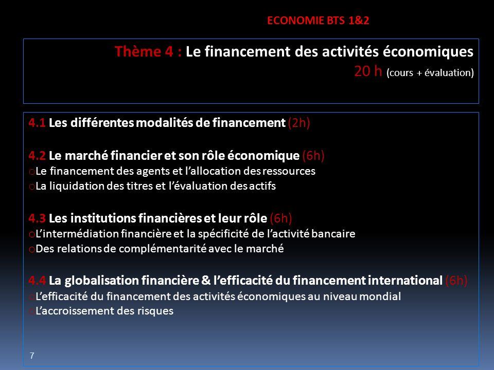 7 4.1 Les différentes modalités de financement (2h) 4.2 Le marché financier et son rôle économique (6h) o Le financement des agents et lallocation des
