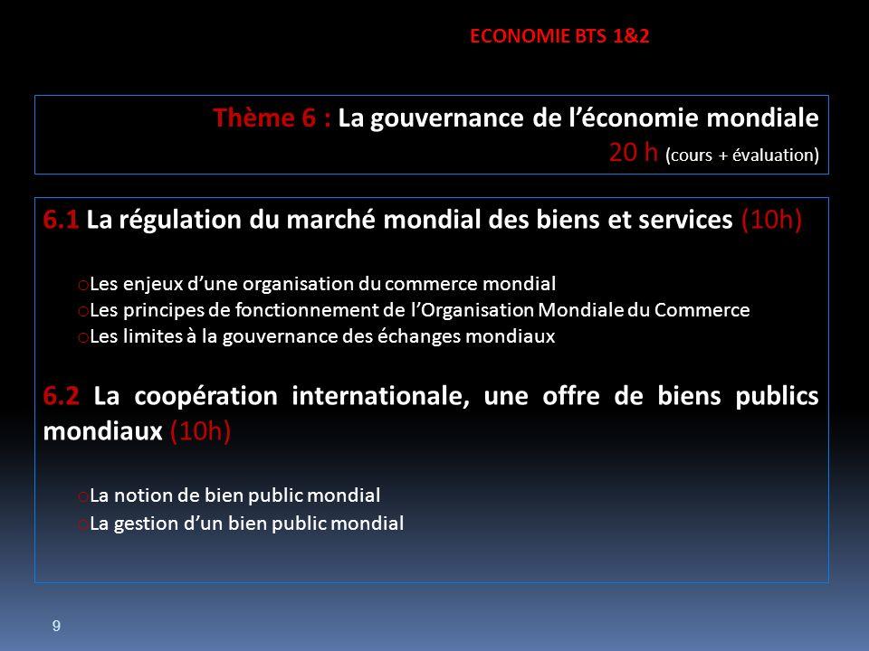 9 6.1 La régulation du marché mondial des biens et services (10h) o Les enjeux dune organisation du commerce mondial o Les principes de fonctionnement