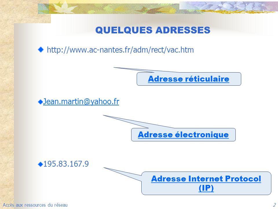 Accès aux ressources du réseau 2 http://www.ac-nantes.fr/adm/rect/vac.htm Jean.martin@yahoo.fr 195.83.167.9 QUELQUES ADRESSES Adresse réticulaire Adresse électronique Adresse Internet Protocol (IP)
