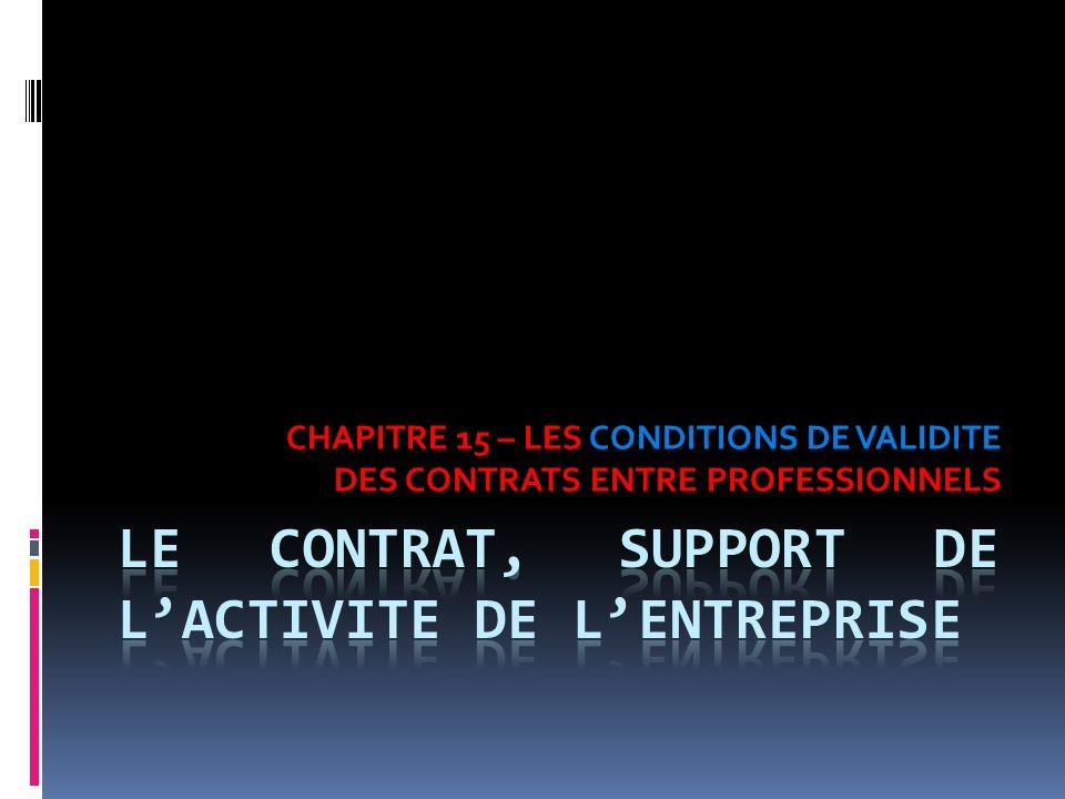 CHAPITRE 15 – LES CONDITIONS DE VALIDITE DES CONTRATS ENTRE PROFESSIONNELS