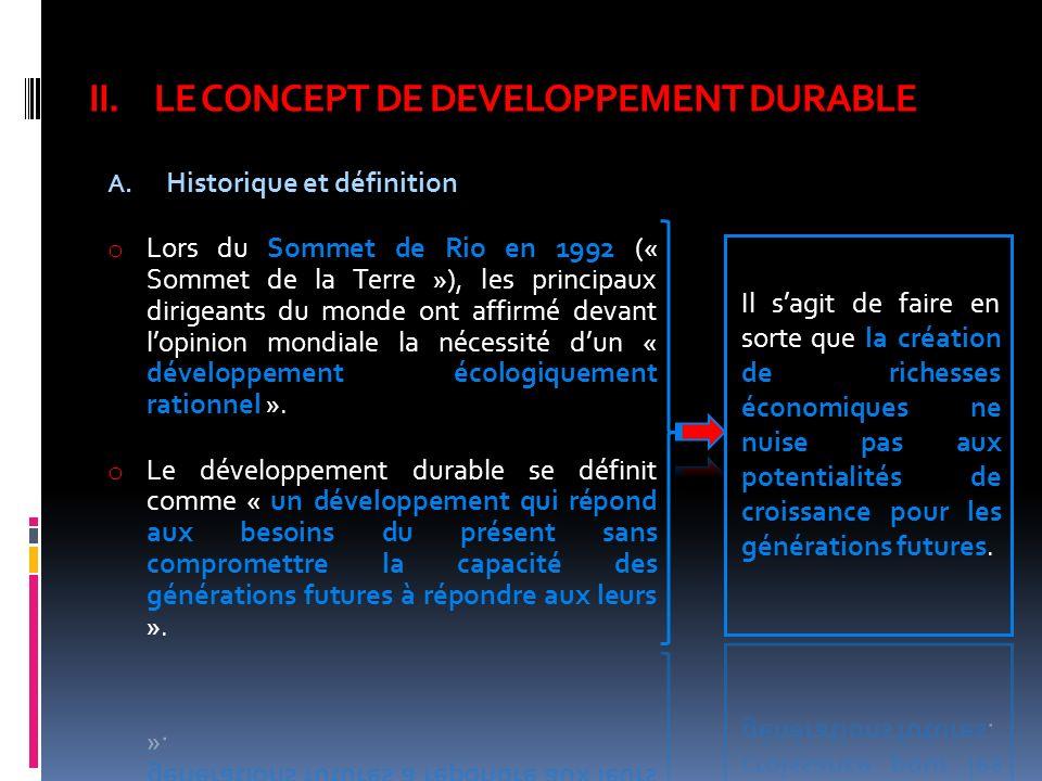 II.LE CONCEPT DE DEVELOPPEMENT DURABLE