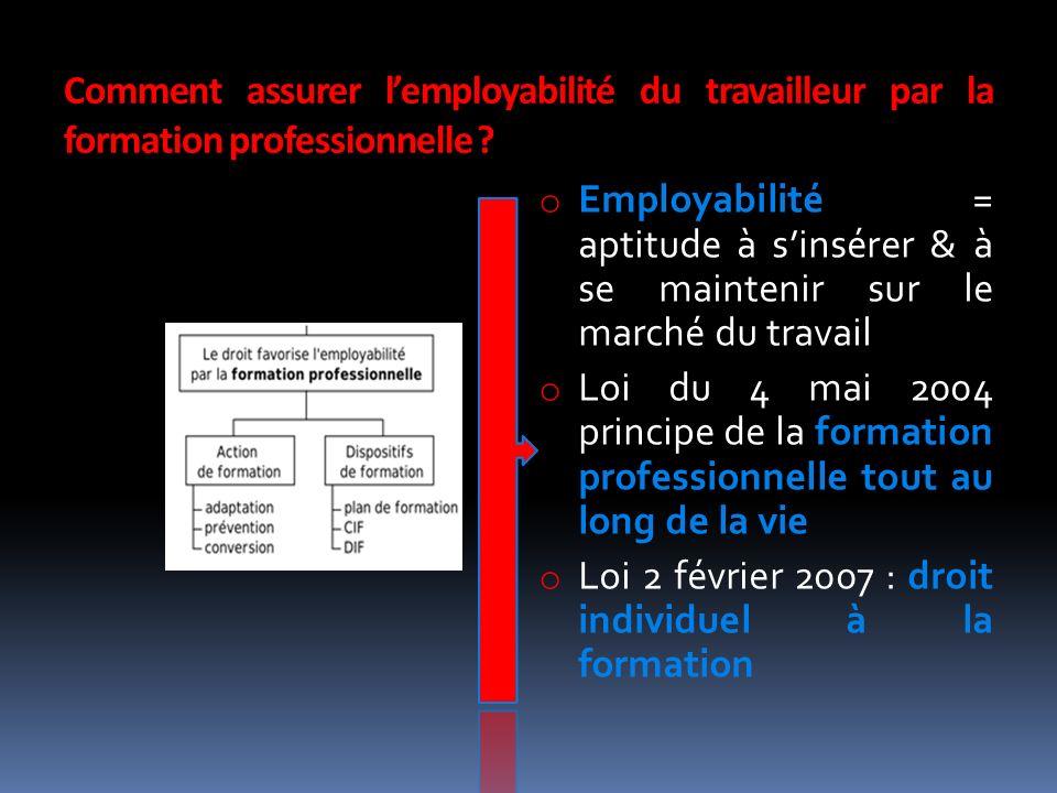Comment assurer lemployabilité du travailleur par la formation professionnelle .
