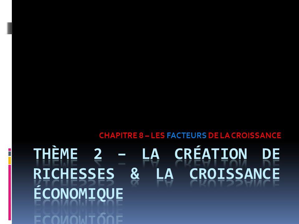 CHAPITRE 8 – LES FACTEURS DE LA CROISSANCE