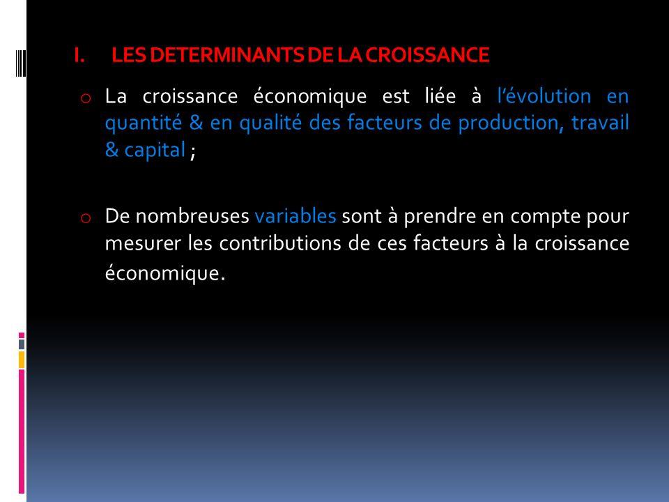 I.LES DETERMINANTS DE LA CROISSANCE o La croissance économique est liée à lévolution en quantité & en qualité des facteurs de production, travail & ca