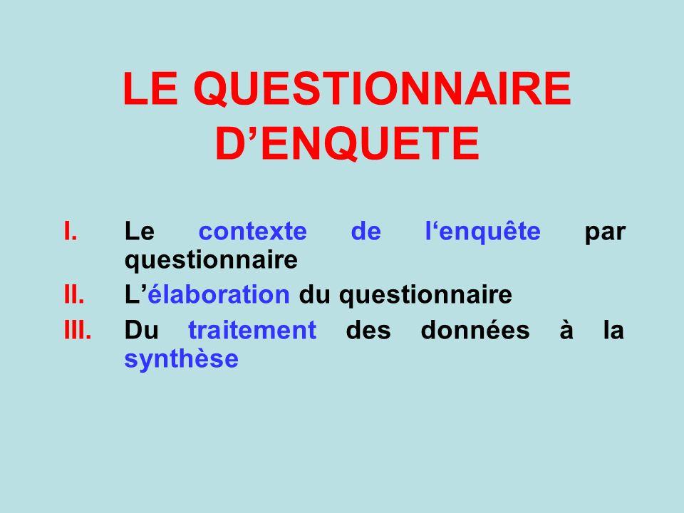 LE QUESTIONNAIRE DENQUETE I.Le contexte de lenquête par questionnaire II.Lélaboration du questionnaire III.Du traitement des données à la synthèse