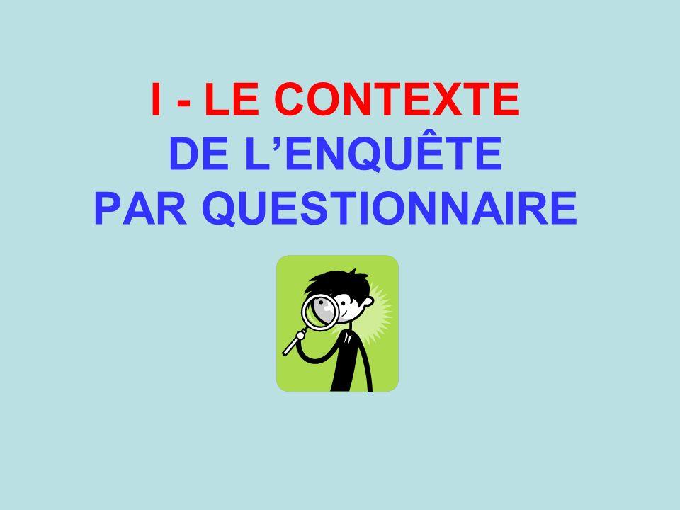 Les questions signalétiques (didentification de la personne interrogée) doivent être placées en fin de questionnaire.