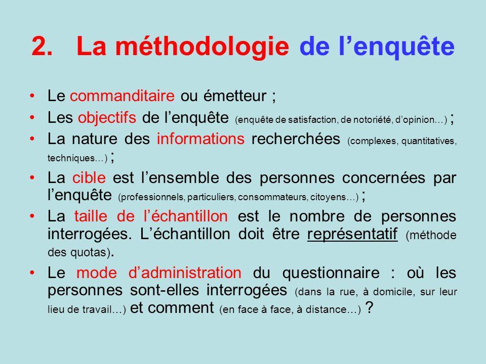 2.La méthodologie de lenquête Le commanditaire ou émetteur ; Les objectifs de lenquête (enquête de satisfaction, de notoriété, dopinion…) ; La nature
