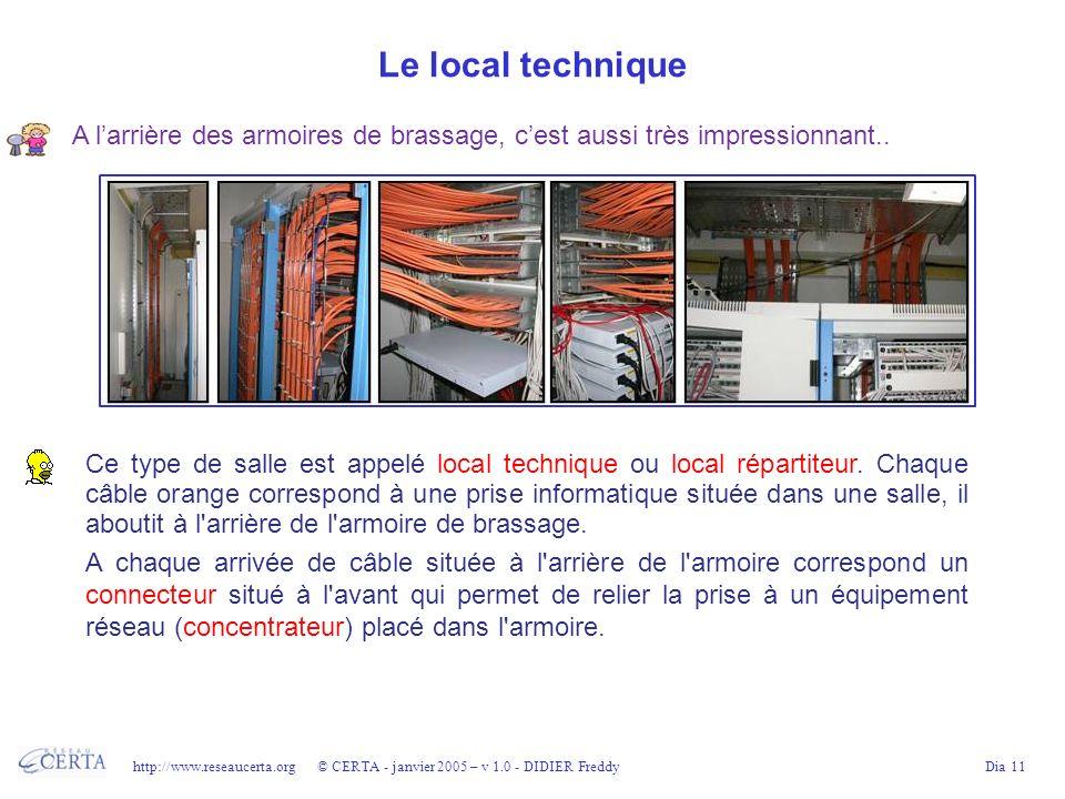 http://www.reseaucerta.org © CERTA - janvier 2005 – v 1.0 - DIDIER FreddyDia 11 Le local technique A larrière des armoires de brassage, cest aussi trè