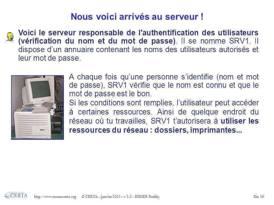 http://www.reseaucerta.org © CERTA - janvier 2005 – v 1.0 - DIDIER FreddyDia 19 Nous voici arrivés au serveur ! Voici le serveur responsable de l'auth
