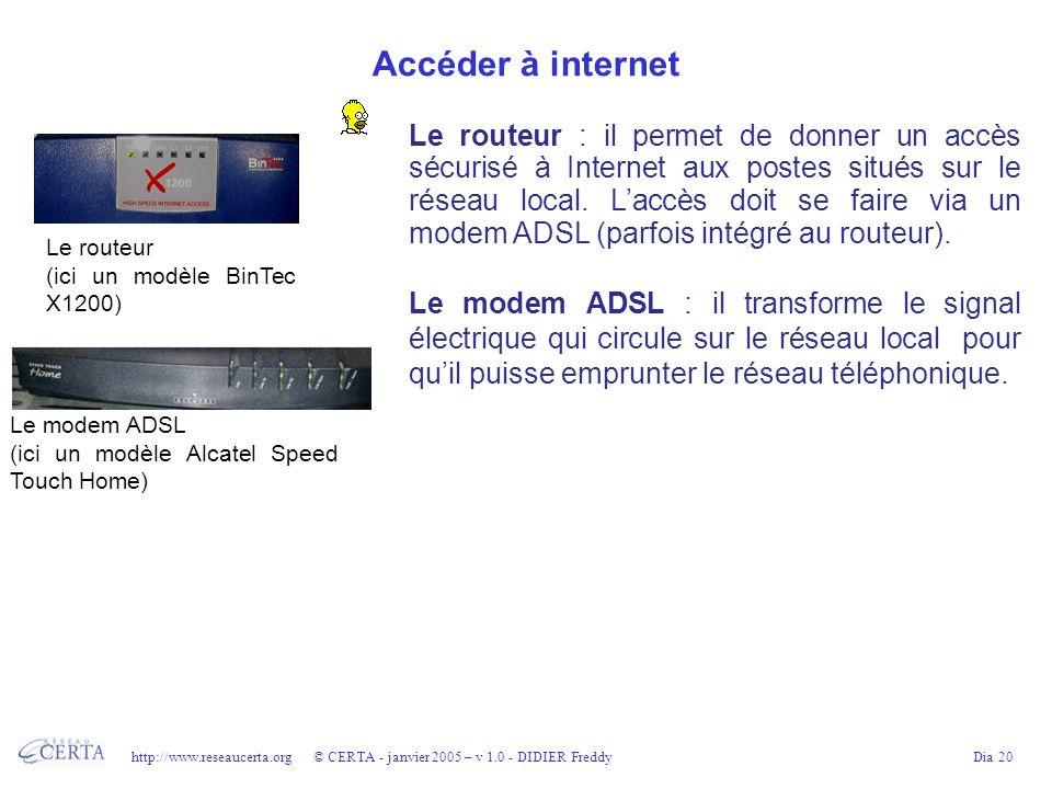 http://www.reseaucerta.org © CERTA - janvier 2005 – v 1.0 - DIDIER FreddyDia 20 Accéder à internet Le routeur : il permet de donner un accès sécurisé