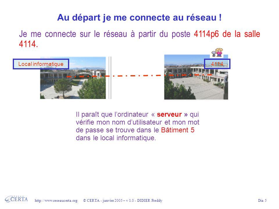 http://www.reseaucerta.org © CERTA - janvier 2005 – v 1.0 - DIDIER FreddyDia 6 De mon ordinateur à la prise murale Voilà, je saisis mon nom dutilisateur et mon mot de passe au clavier.