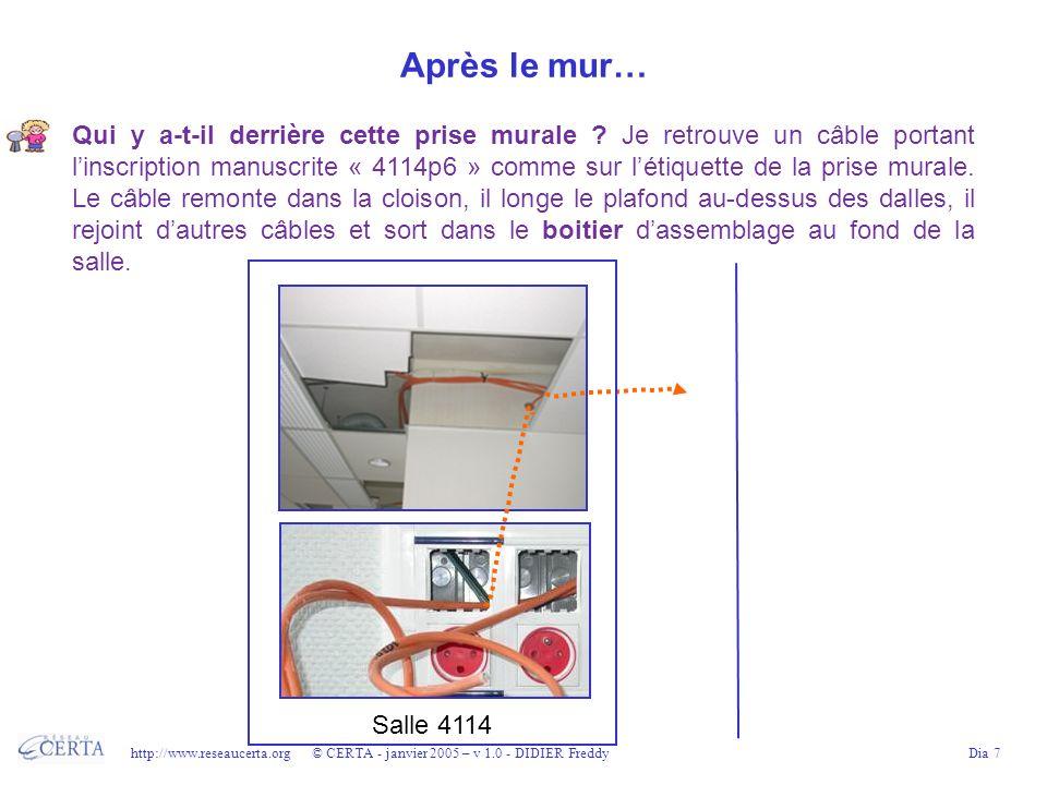http://www.reseaucerta.org © CERTA - janvier 2005 – v 1.0 - DIDIER FreddyDia 8 Dans bâtiment 4… Le câble se trouve dans le faux plafond du couloir.