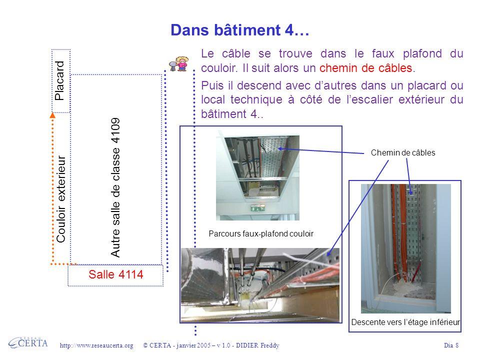 http://www.reseaucerta.org © CERTA - janvier 2005 – v 1.0 - DIDIER FreddyDia 8 Dans bâtiment 4… Le câble se trouve dans le faux plafond du couloir. Il