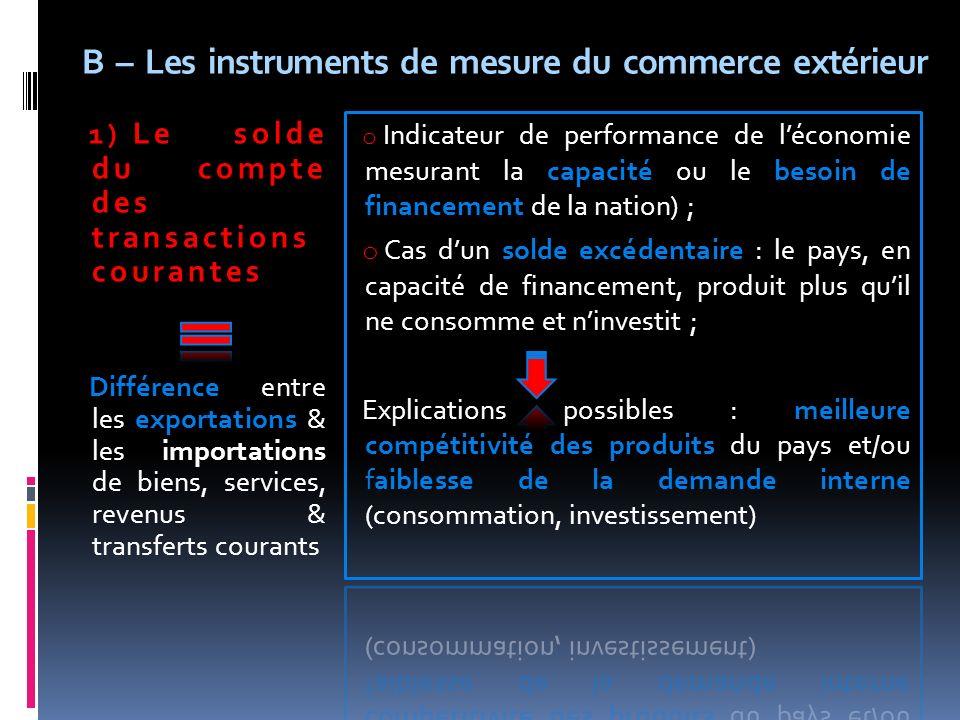 B – Les instruments de mesure du commerce extérieur 1) Le solde du compte des transactions courantes Différence entre les exportations & les importati