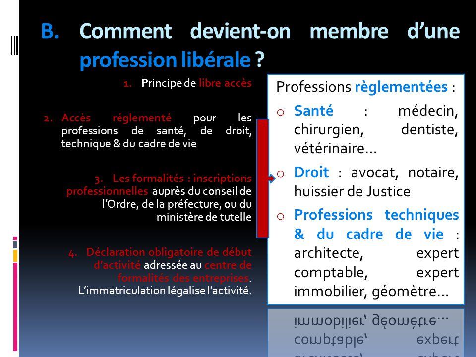 B.Comment devient-on membre dune profession libérale ? 1. Principe de libre accès 2. Accès réglementé pour les professions de santé, de droit, techniq