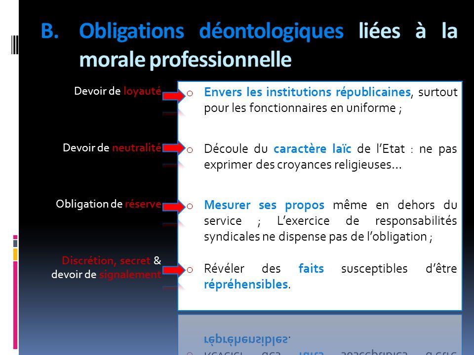 B.Obligations déontologiques liées à la morale professionnelle Devoir de loyauté Devoir de neutralité Obligation de réserve Discrétion, secret & devoi