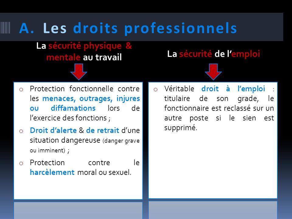 A.Les droits professionnels La sécurité physique & mentale au travail La sécurité de lemploi