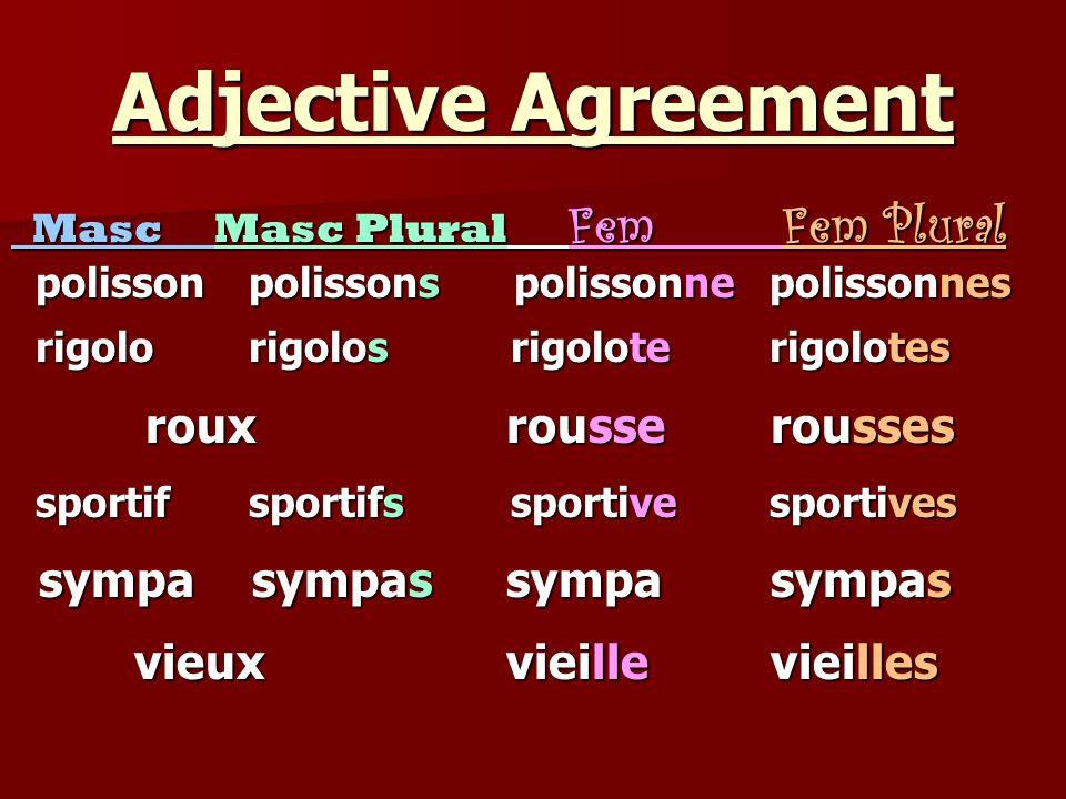 Adjective Agreement Masc Masc Plural Fem Fem Plural Masc Masc Plural Fem Fem Plural polisson polissons polissonne polissonnes polisson polissons polis
