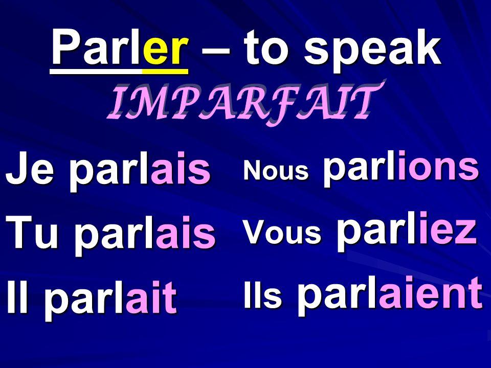 Parler – to speak Je parlais Tu parlais Il parlait Nous parlions Vous parliez Ils parlaient