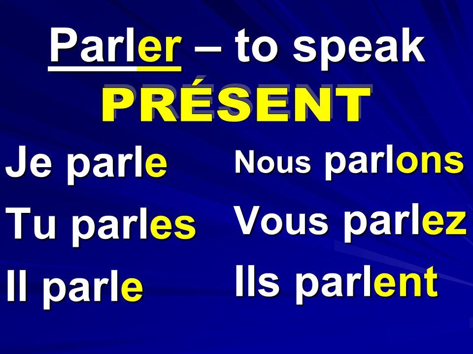 Je parle Tu parles Il parle Nous parlons Vous parlez Ils parlent