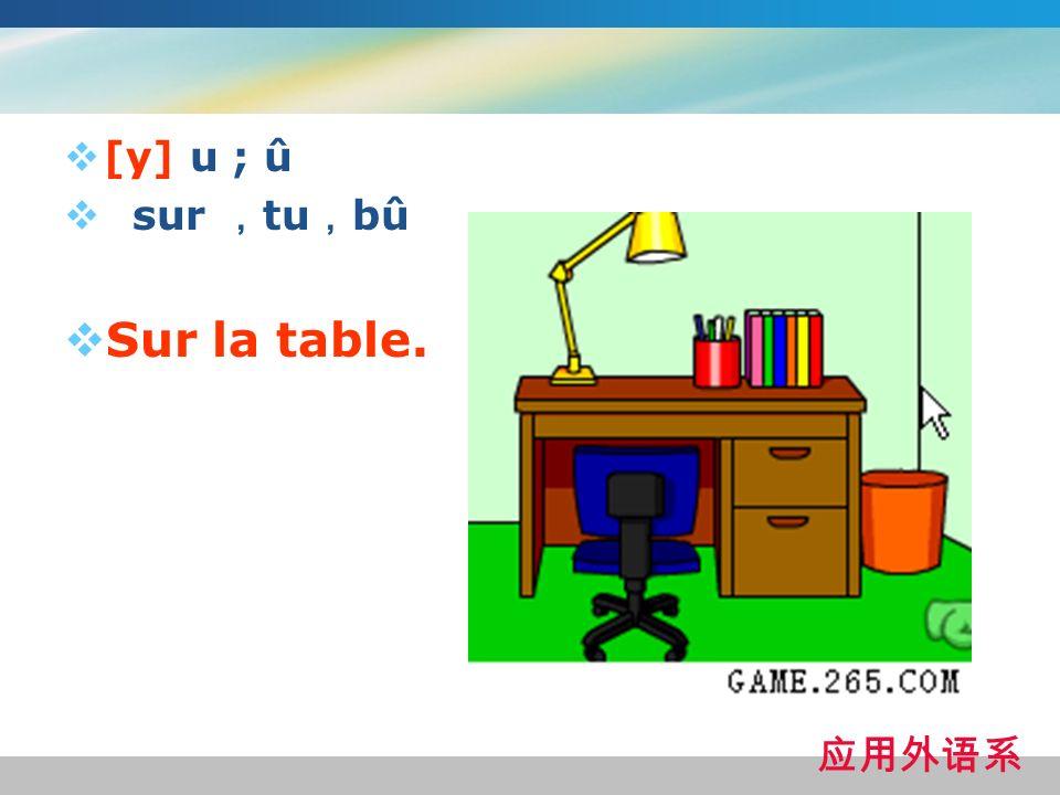 [y] u ; û sur tu bû Sur la table.